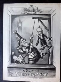 After G. Bridgman C1883 Folio Antique Print. A Political Punch & Judy Show